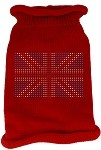 British Flag Rhinestone Knit Pet Sweater SM Red